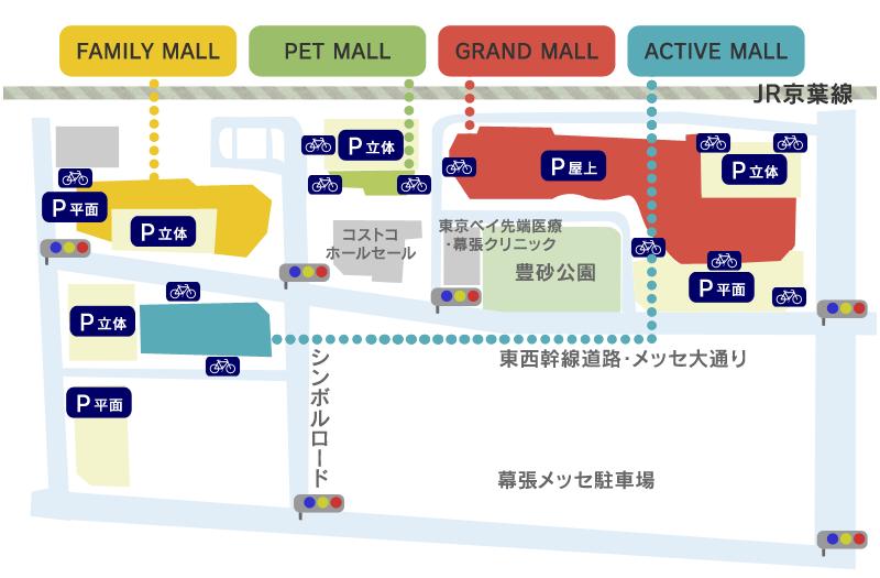 イオンモール幕張新都心の駐車場・駐輪場マップ